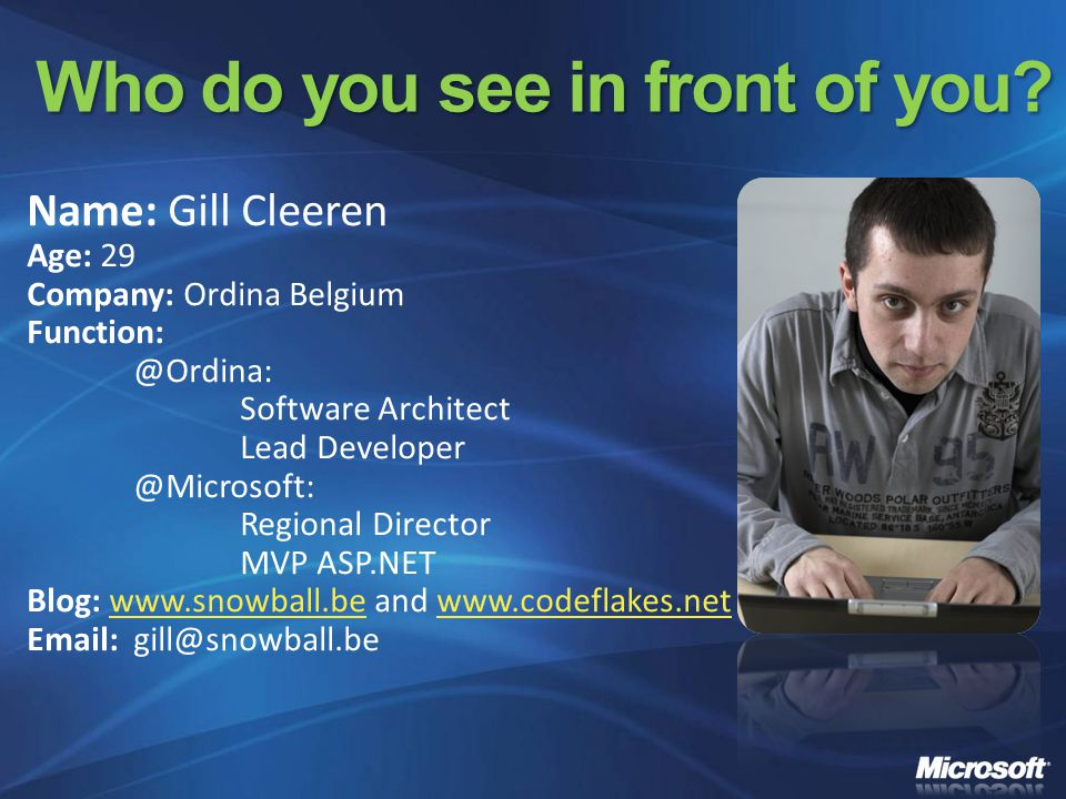 Agenda The evolution of.NET A Tour around Visual Studio 2008 and.NET 3.5 IDE enhancements Language Enhancements Web Development Services (Workflow and Communication Foundation) Client and Mobile Development Office Development.NET Framework 3.5 new assemblies Questions & Answers