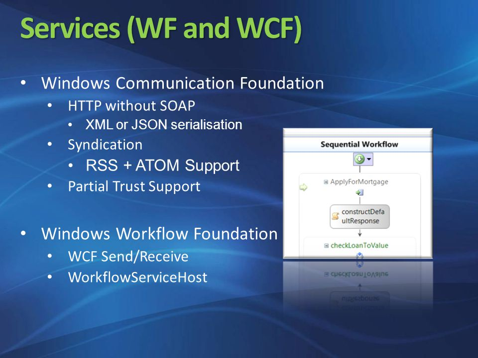 Services (WF and WCF) Windows Communication Foundation HTTP without SOAP XML or JSON serialisation Syndication RSS + ATOM Support Partial Trust Support Windows Workflow Foundation WCF Send/Receive WorkflowServiceHost