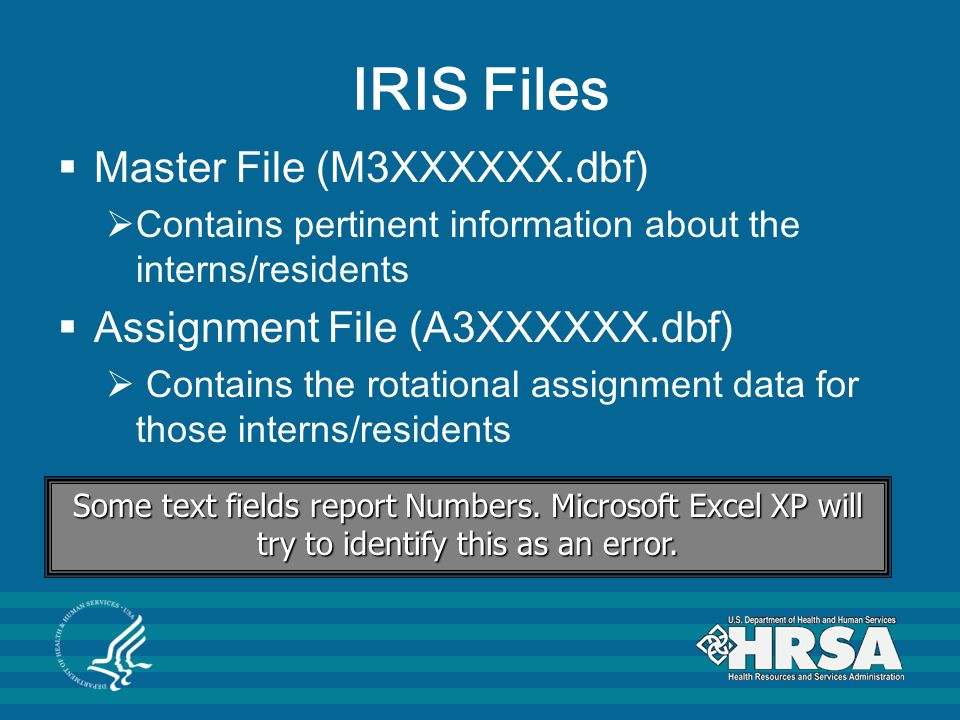 IRIS Files  Master File (M3XXXXXX.dbf)  Contains pertinent information about the interns/residents  Assignment File (A3XXXXXX.dbf)  Contains the rotational assignment data for those interns/residents Some text fields report Numbers.