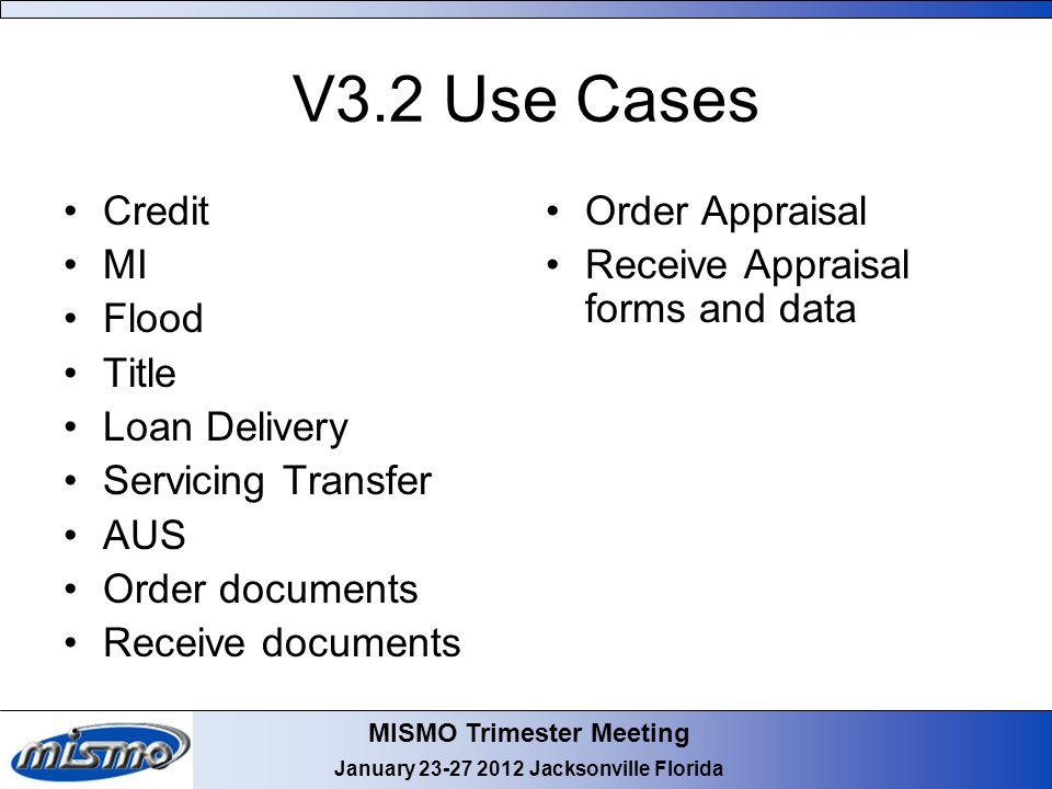 MISMO Trimester Meeting January 23-27 2012 Jacksonville Florida V3.2 Use Cases Credit MI Flood Title Loan Delivery Servicing Transfer AUS Order docume