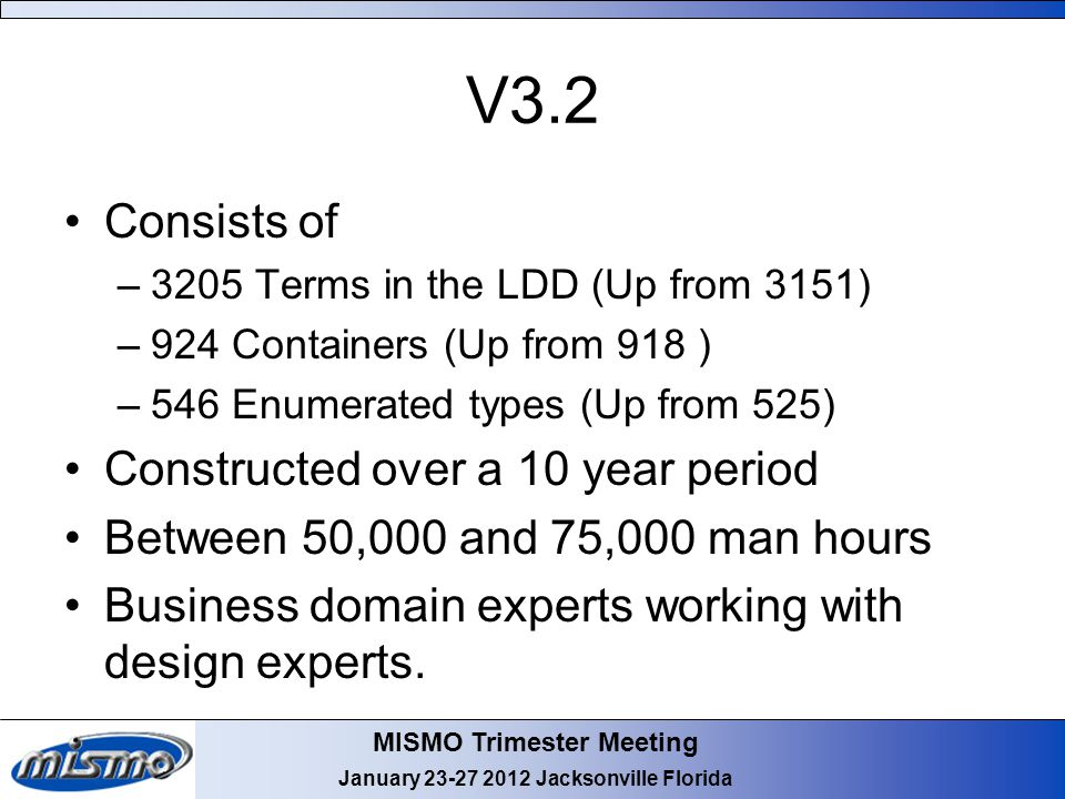 MISMO Trimester Meeting January 23-27 2012 Jacksonville Florida V3.2 Consists of –3205 Terms in the LDD (Up from 3151) –924 Containers (Up from 918 )