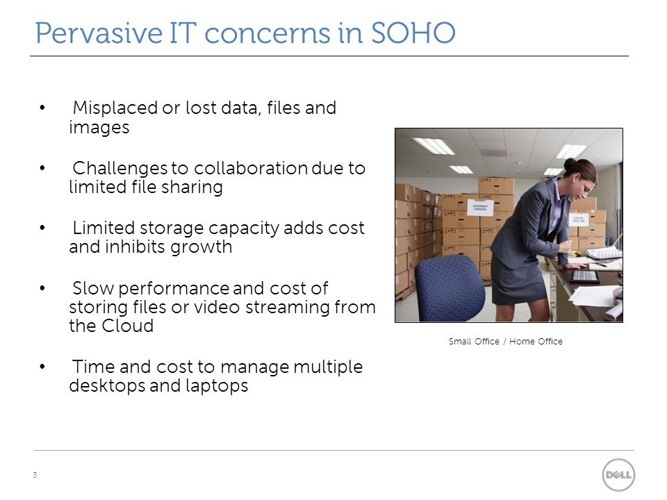 Pervasive IT concerns in SOHO 3 Misplaced or lost data, files and images Challenges to collaboration due to limited file sharing Limited storage capacity adds cost and inhibits growth Slow performance and cost of storing files or video streaming from the Cloud Time and cost to manage multiple desktops and laptops Small Office / Home Office
