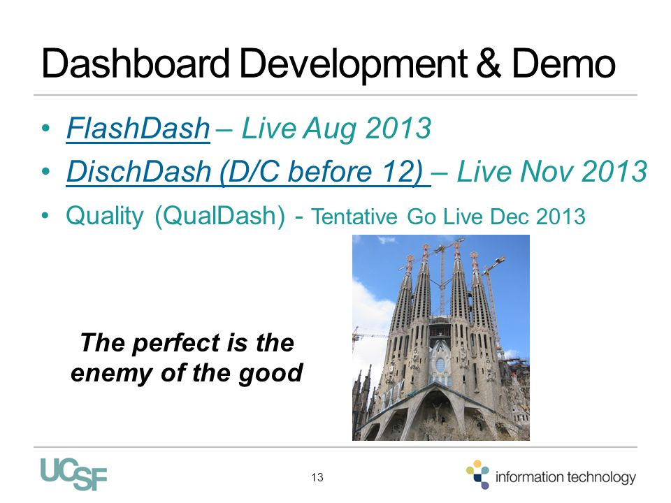 Dashboard Development & Demo FlashDash – Live Aug 2013FlashDash DischDash (D/C before 12) – Live Nov 2013DischDash (D/C before 12) Quality (QualDash)