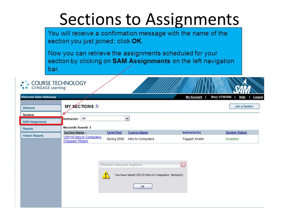 Sections to Assignments You will receive a confirmation message with the name of the section you just joined; click OK.