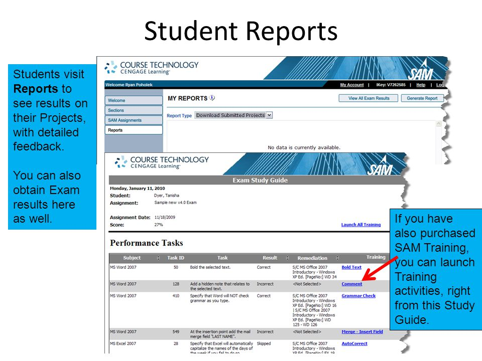 Student Reports Students visit Reports to see results on their Projects, with detailed feedback.