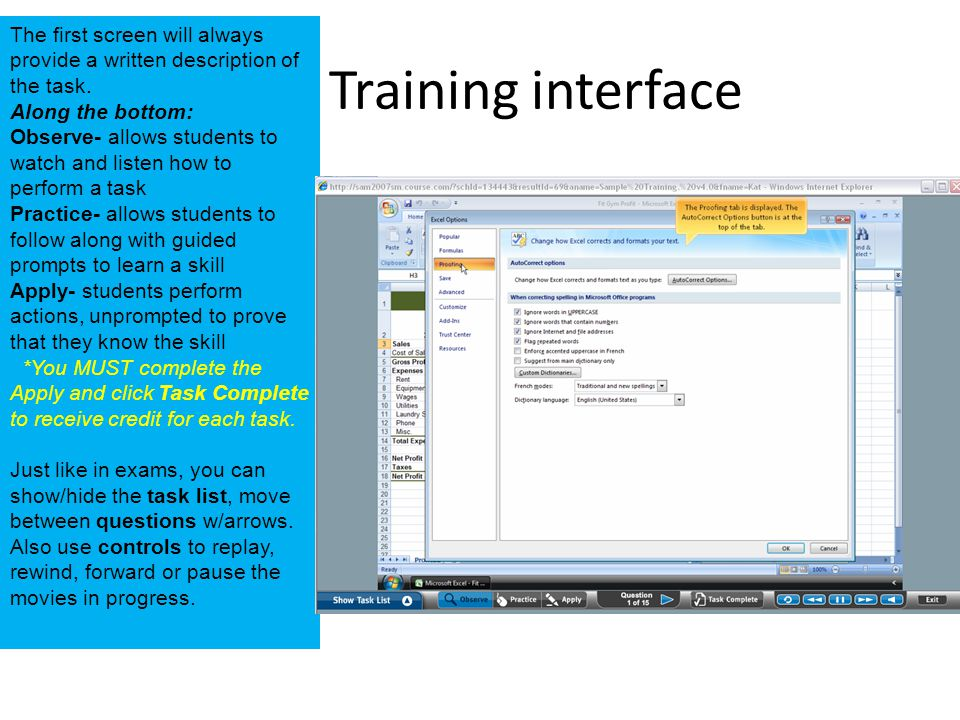 Training interface The first screen will always provide a written description of the task.