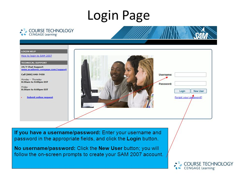 Login Page If you have a username/password: Enter your username and password in the appropriate fields, and click the Login button.
