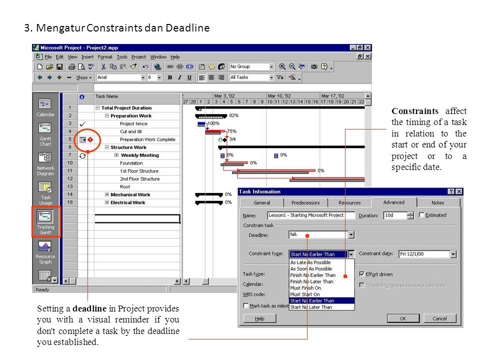3. Mengatur Constraints dan Deadline Setting a deadline in Project provides you with a visual reminder if you don't complete a task by the deadline yo