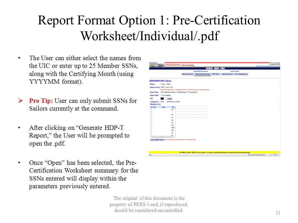 Report Format Option 1: Pre-Certification Worksheet/Individual/.pdf The User can either select the names from the UIC or enter up to 25 Member SSNs, a