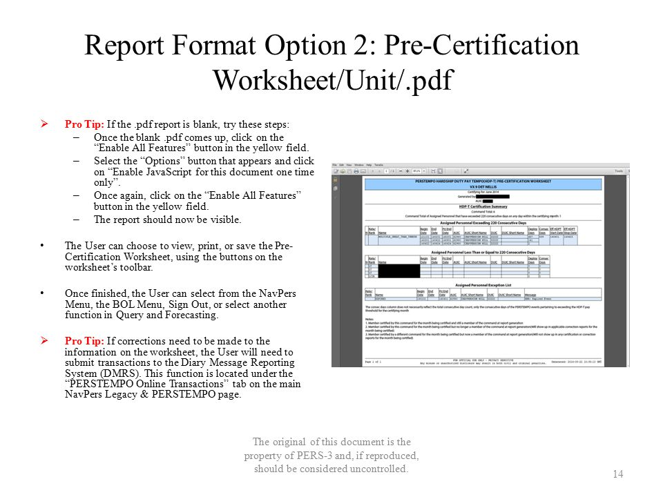 Report Format Option 2: Pre-Certification Worksheet/Unit/.pdf  Pro Tip: If the.pdf report is blank, try these steps: – Once the blank.pdf comes up, c