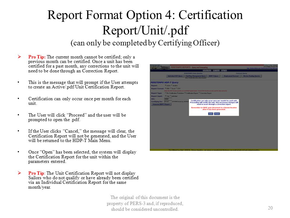Report Format Option 4: Certification Report/Unit/.pdf (can only be completed by Certifying Officer)  Pro Tip: The current month cannot be certified;