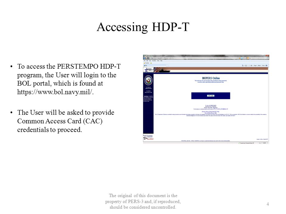 Accessing HDP-T The original of this document is the property of PERS-3 and, if reproduced, should be considered uncontrolled. To access the PERSTEMPO