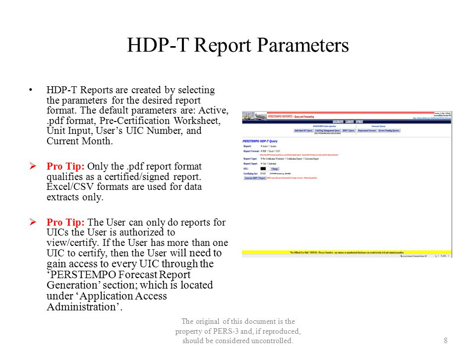 HDP-T Report Parameters HDP-T Reports are created by selecting the parameters for the desired report format. The default parameters are: Active,.pdf f