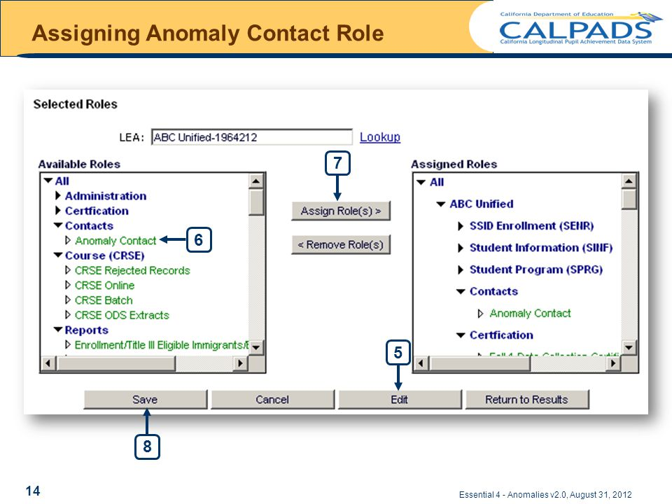 Assigning Anomaly Contact Role Essential 4 - Anomalies v2.0, August 31, 2012 56 8 7 14