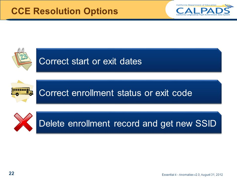 CCE Resolution Options Essential 4 - Anomalies v2.0, August 31, 2012 Correct start or exit dates Delete enrollment record and get new SSID Correct enrollment status or exit code 22