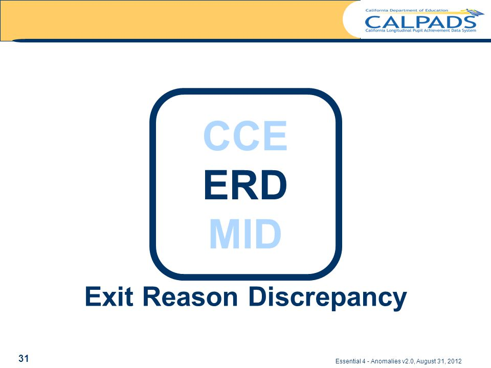 Exit Reason Discrepancy Essential 4 - Anomalies v2.0, August 31, 2012 CCE ERD MID 31