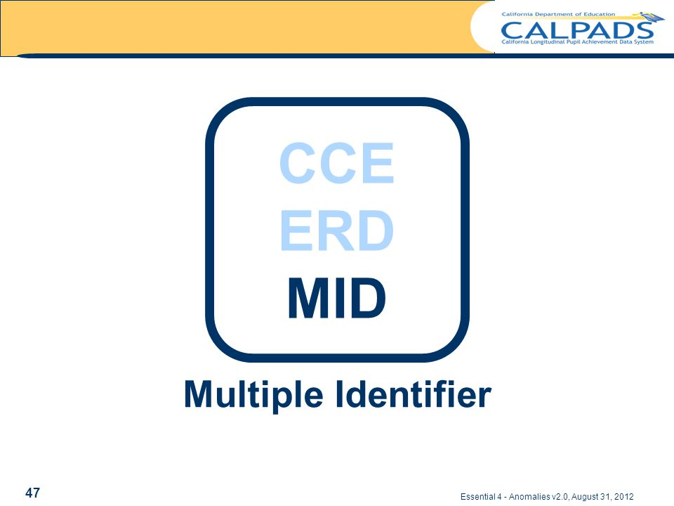 Multiple Identifier Essential 4 - Anomalies v2.0, August 31, 2012 CCE ERD MID 47
