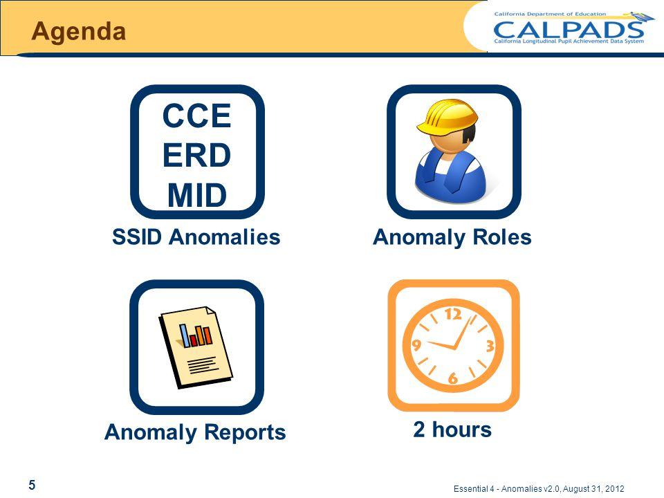Essential 4 - Anomalies v2.0, August 31, 2012 Agenda 2 hours SSID Anomalies CCE ERD MID Anomaly ReportsAnomaly Roles 5