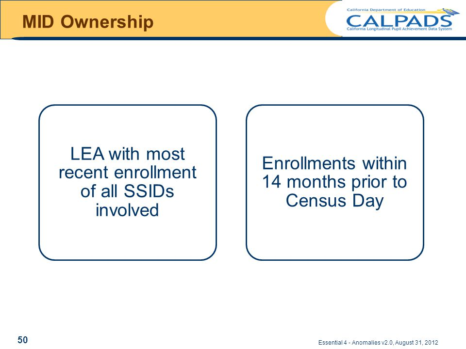MID Ownership Essential 4 - Anomalies v2.0, August 31, 2012 LEA with most recent enrollment of all SSIDs involved Enrollments within 14 months prior to Census Day 50