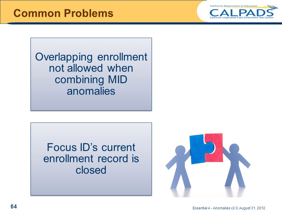 Common Problems Essential 4 - Anomalies v2.0, August 31, 2012 Overlapping enrollment not allowed when combining MID anomalies Focus ID's current enrollment record is closed 64