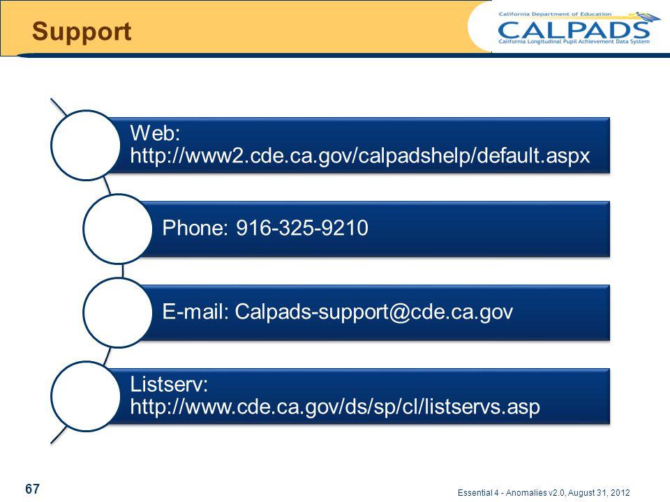 Support Essential 4 - Anomalies v2.0, August 31, 2012 Web: http://www2.cde.ca.gov/calpadshelp/default.aspx Phone: 916-325-9210 E-mail: Calpads-support@cde.ca.gov Listserv: http://www.cde.ca.gov/ds/sp/cl/listservs.asp 67