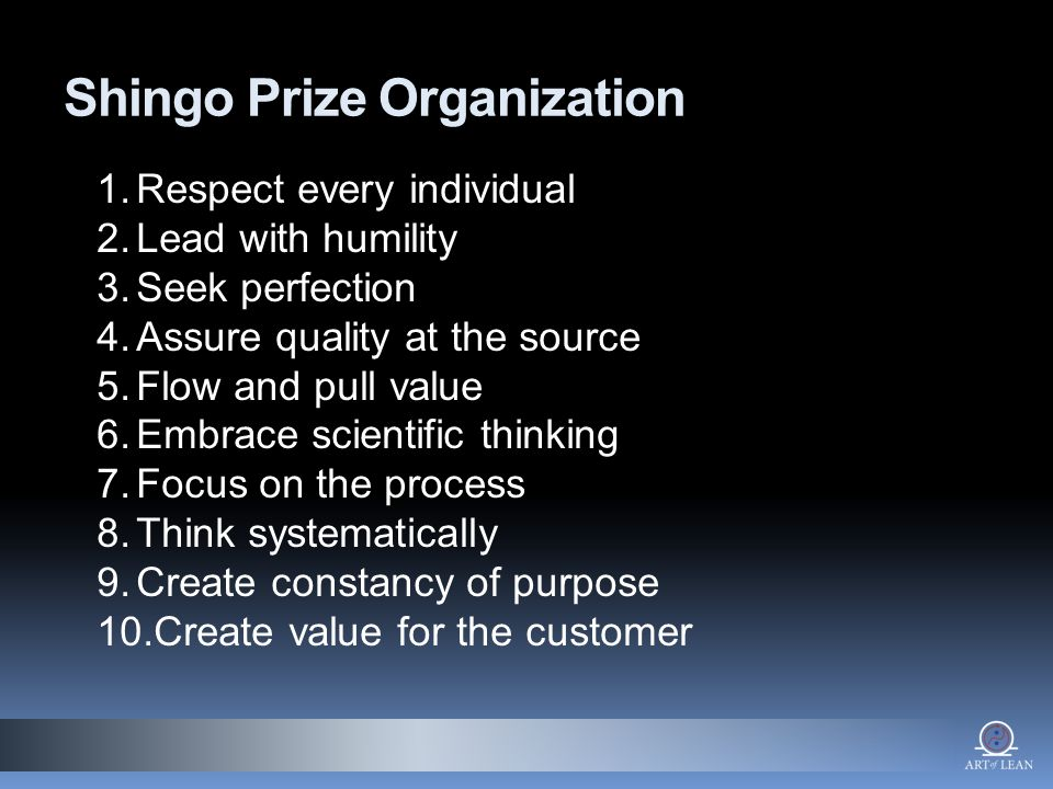 Shingo Prize Organization 1.Respect every individual 2.Lead with humility 3.Seek perfection 4.Assure quality at the source 5.Flow and pull value 6.Embrace scientific thinking 7.Focus on the process 8.Think systematically 9.Create constancy of purpose 10.Create value for the customer
