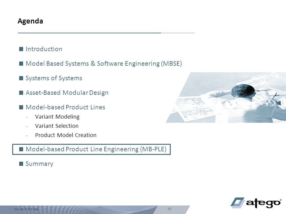 53 Copyright © 2013 Atego. Agenda  Introduction  Model Based Systems & Software Engineering (MBSE)  Systems of Systems  Asset-Based Modular Design