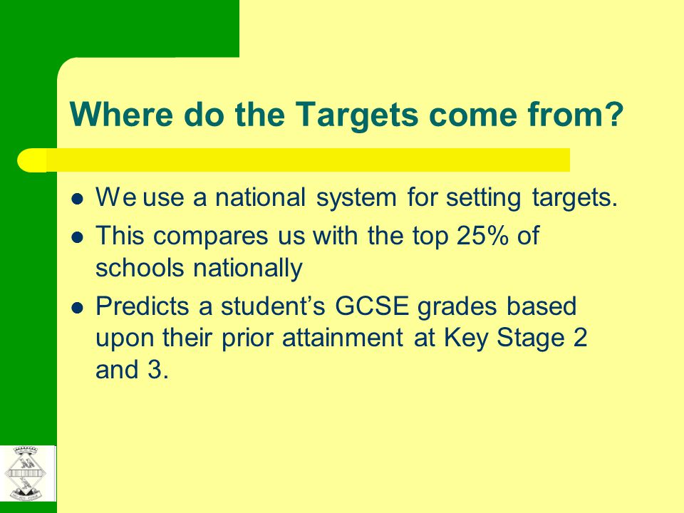 Where do the Targets come from. We use a national system for setting targets.