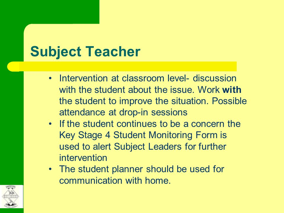 Subject Teacher Intervention at classroom level- discussion with the student about the issue.