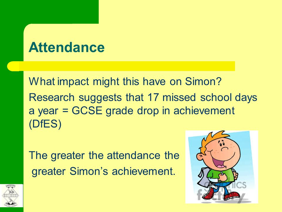 Attendance What impact might this have on Simon? Research suggests that 17 missed school days a year = GCSE grade drop in achievement (DfES) The great
