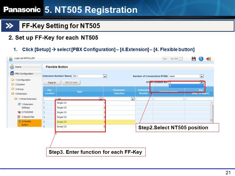 21 5.NT505 Registration FF-Key Setting for NT505 2.
