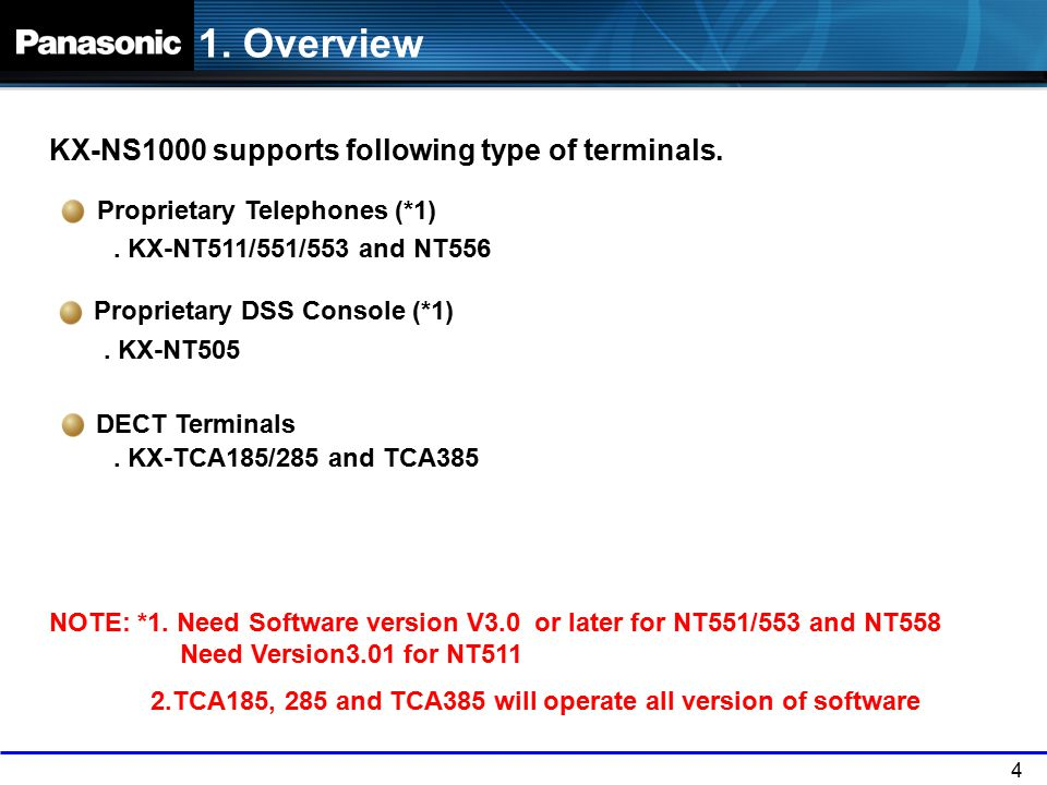 4 1. Overview KX-NS1000 supports following type of terminals. Proprietary Telephones (*1). KX-NT511/551/553 and NT556 DECT Terminals. KX-TCA185/285 an