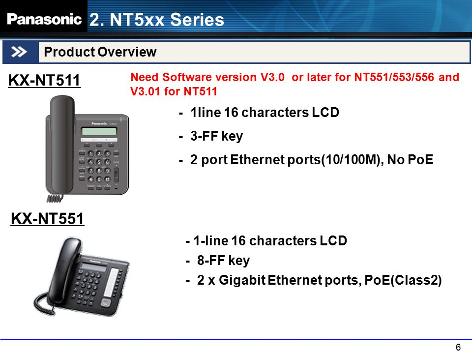 6 Product Overview KX-NT551 2. NT5xx Series Need Software version V3.0 or later for NT551/553/556 and V3.01 for NT511 - 1-line 16 characters LCD - 8-F