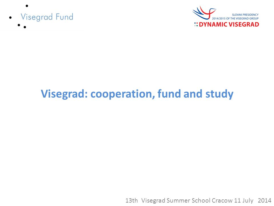 Visegrad: cooperation, fund and study 13th Visegrad Summer School Cracow 11 July 2014