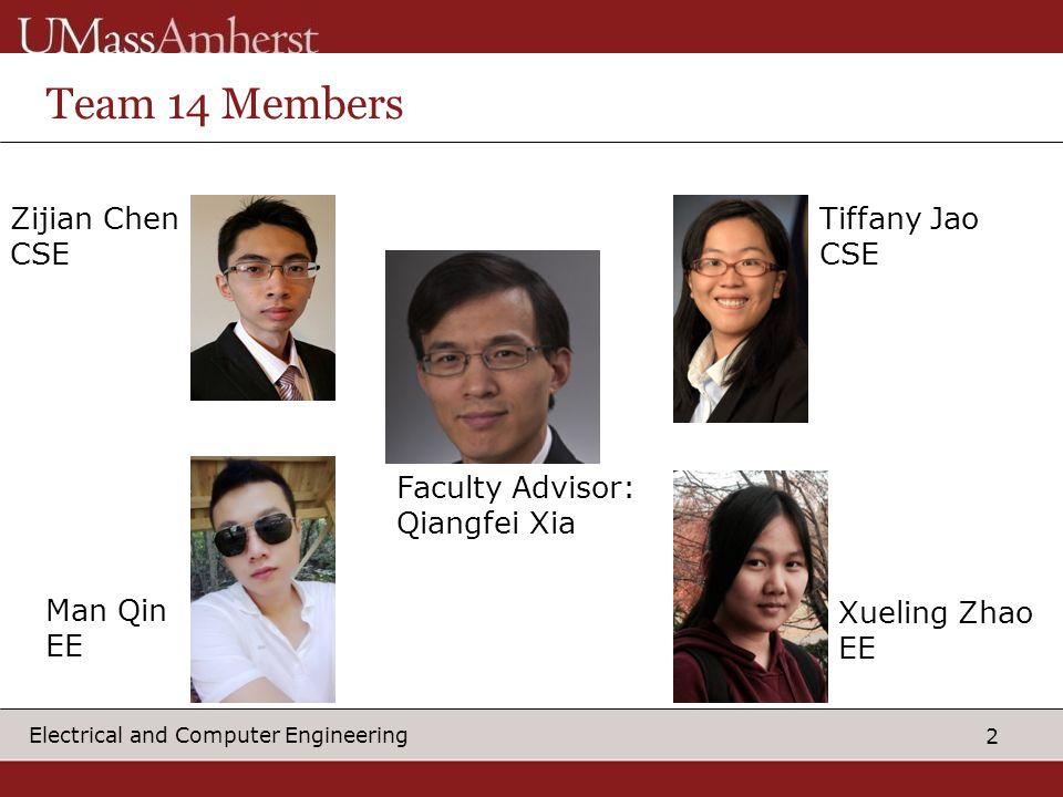 2 Electrical and Computer Engineering Team 14 Members Zijian Chen CSE Tiffany Jao CSE Man Qin EE Xueling Zhao EE Faculty Advisor: Qiangfei Xia