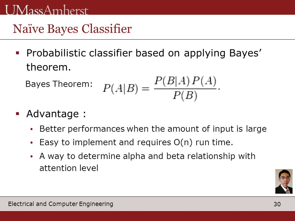 30 Electrical and Computer Engineering Naïve Bayes Classifier  Probabilistic classifier based on applying Bayes' theorem.