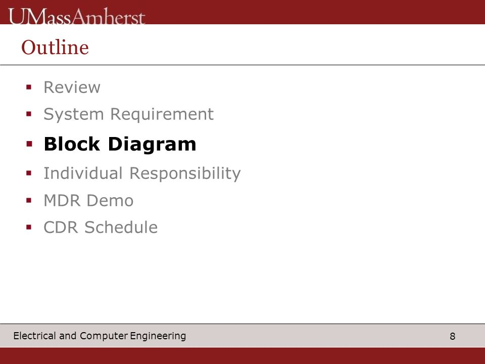 8 Electrical and Computer Engineering Outline  Review  System Requirement  Block Diagram  Individual Responsibility  MDR Demo  CDR Schedule