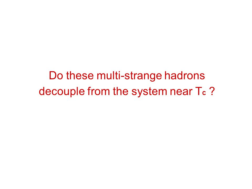 Do these multi-strange hadrons decouple from the system near T c ?