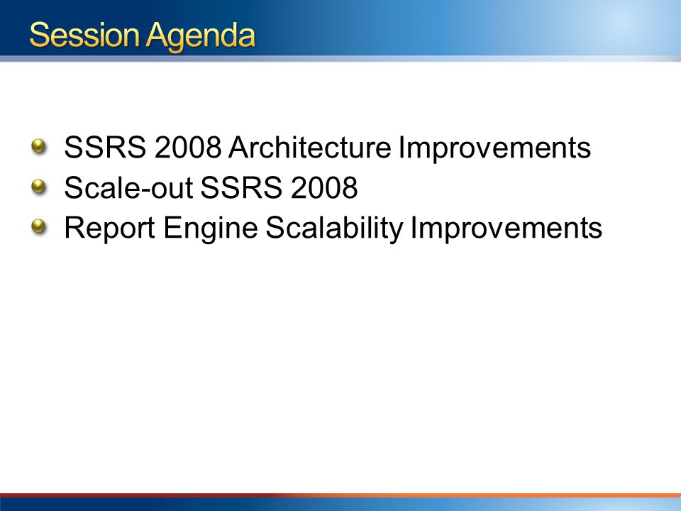 SSRS 2008 Architecture Improvements Scale-out SSRS 2008 Report Engine Scalability Improvements