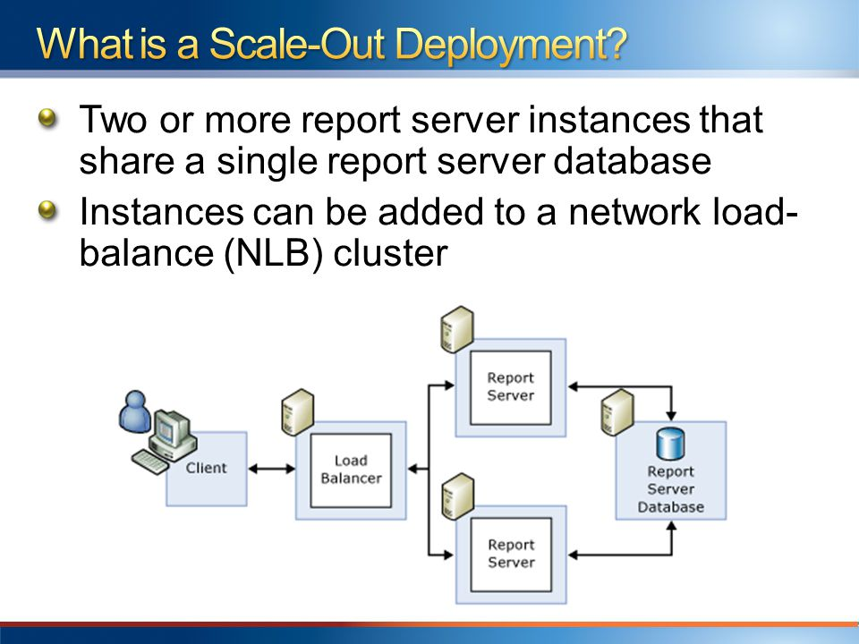Two or more report server instances that share a single report server database Instances can be added to a network load- balance (NLB) cluster