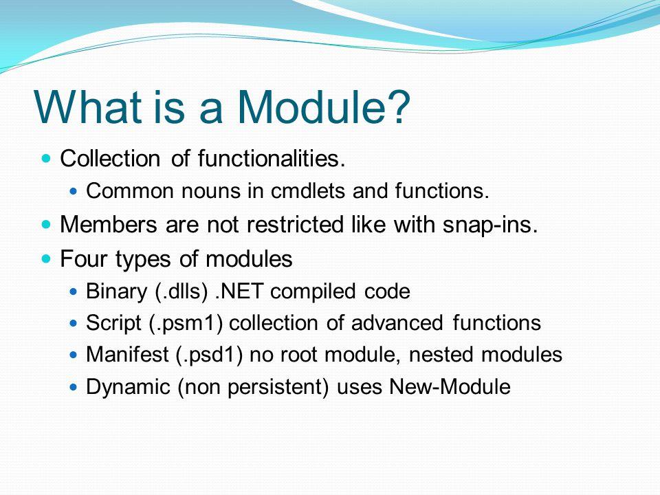 Resources URLs Writing PowerShell Modules http://msdn.microsoft.com/en- us/library/windows/desktop/dd878310(v=vs.85).aspx http://msdn.microsoft.com/en- us/library/windows/desktop/dd878310(v=vs.85).aspx WIX toolset http://wixtoolset.org/