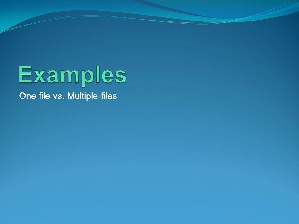 One file vs. Multiple files
