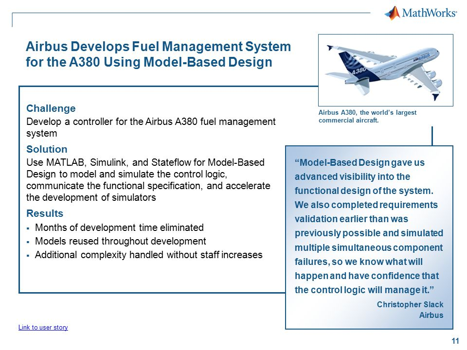 11 Airbus Develops Fuel Management System for the A380 Using Model-Based Design Challenge Develop a controller for the Airbus A380 fuel management sys