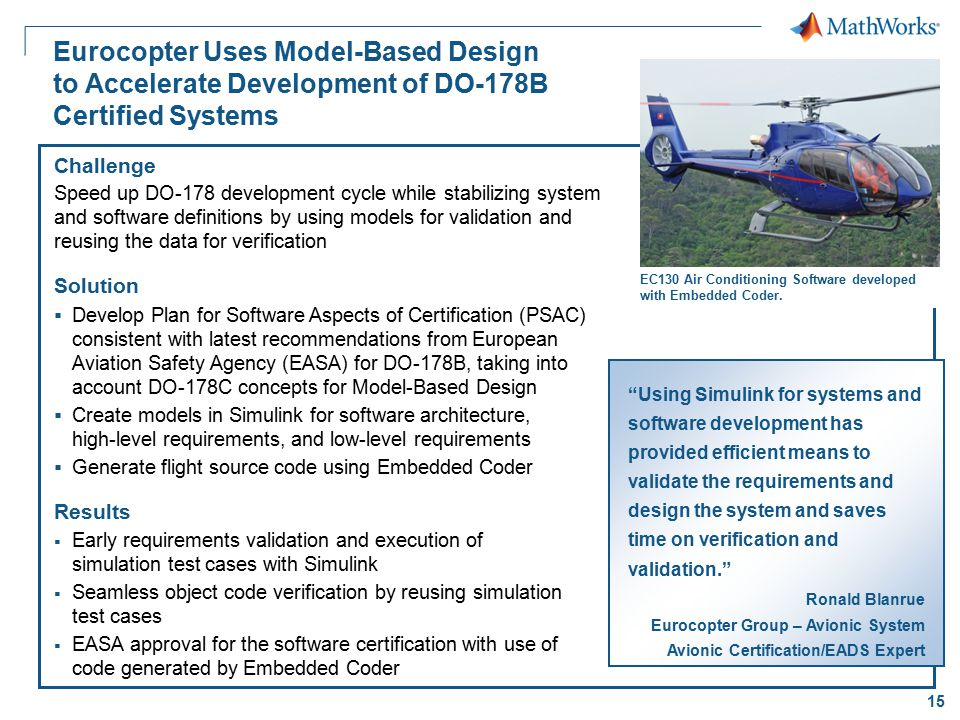15 Eurocopter Uses Model-Based Design to Accelerate Development of DO-178B Certified Systems Challenge Speed up DO-178 development cycle while stabili