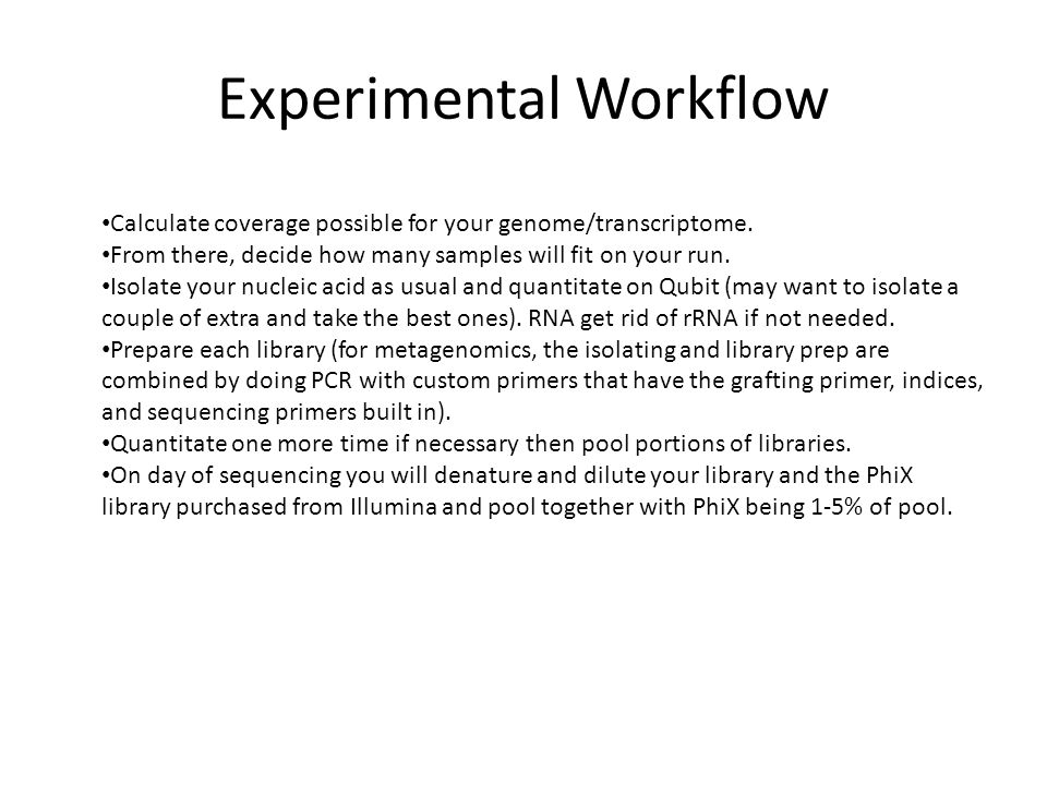 Experimental Workflow Calculate coverage possible for your genome/transcriptome.