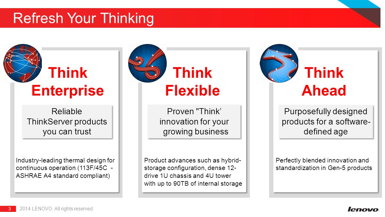 3 Refresh Your Thinking 2014 LENOVO. All rights reserved. Think Enterprise Think Flexible Think Ahead Reliable ThinkServer products you can trust Reli