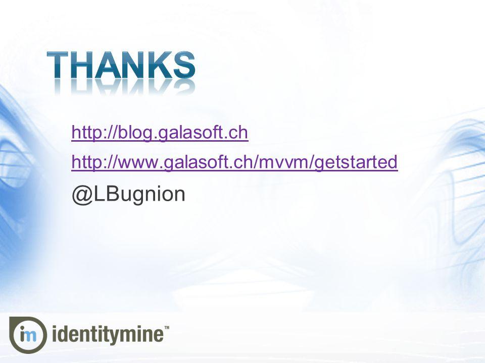 http://blog.galasoft.ch http://www.galasoft.ch/mvvm/getstarted @LBugnion