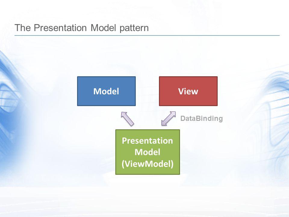 The Presentation Model pattern ModelView Presentation Model (ViewModel) DataBinding