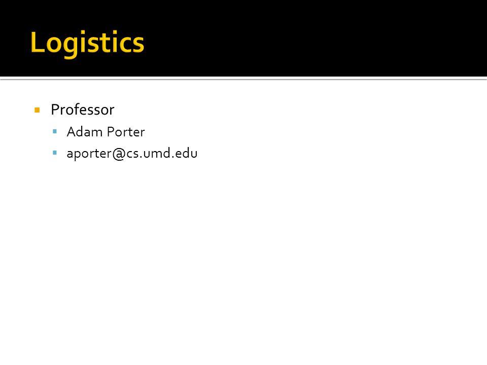  Professor  Adam Porter  aporter@cs.umd.edu