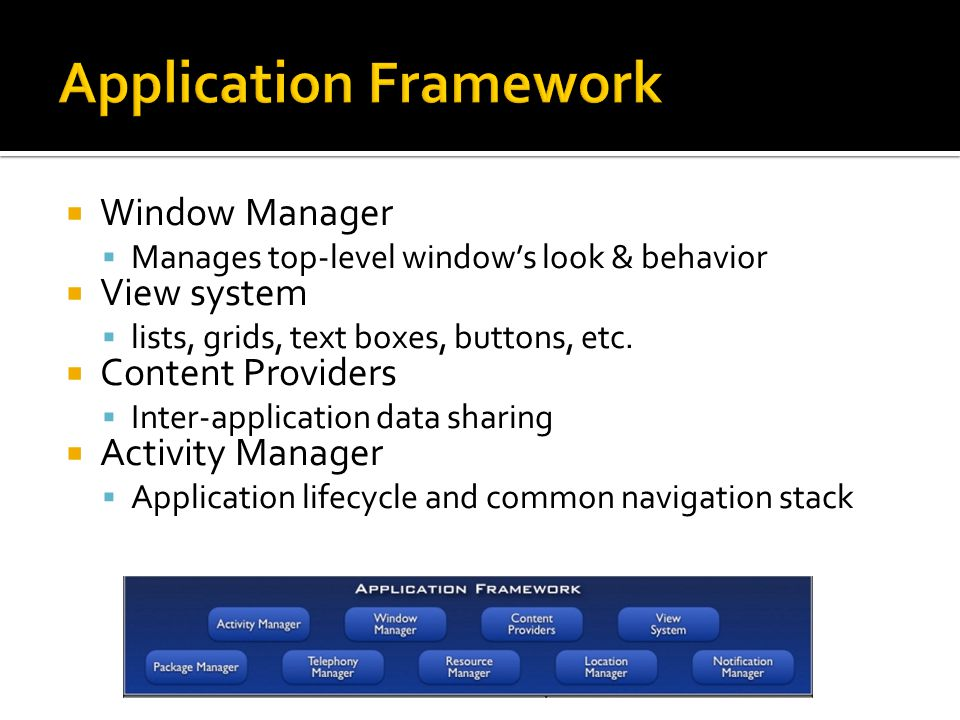  Window Manager  Manages top-level window's look & behavior  View system  lists, grids, text boxes, buttons, etc.  Content Providers  Inter-appl